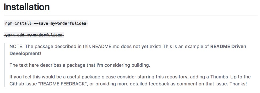 README Driven Dev Warning to Developers
