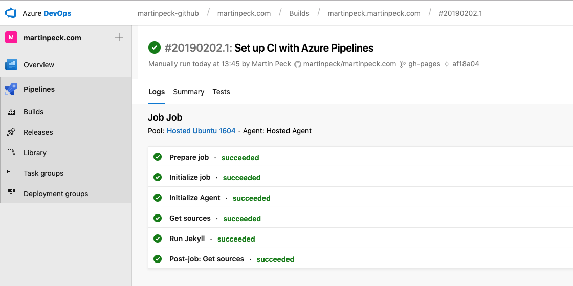 Azure DevOps build pipeline output